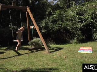 Tiny Tits Teen Teases Her Clit Outside in the Sun