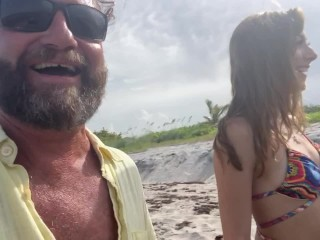 Public Beach Suck and Fuck with best friends Daughter - Dani Blu Fucks Original MILF Hunter