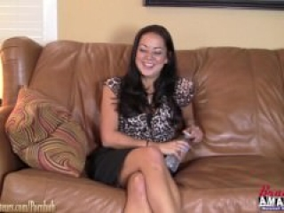 Hot big boob amateur girl masturbates at her interview