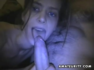 Amateur girlfriend blowjob with cum in mouth