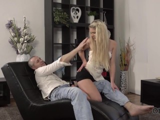 Old4k. Coquette Shows Her Amazing Legs And Big Ass To Old Horny Guy