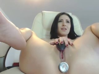 Cute petite babe playing with anal and pussy toys on cam