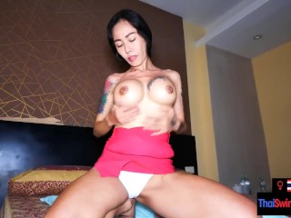 Big fake boobs Thai MILF amateur sucking cock and fucked from behind