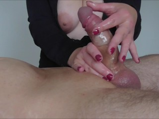 multiple ruined orgasm & post orgasm torture using his cum as lube
