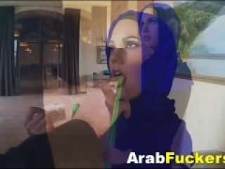 Timid Arabian Refugee Accepts Money For Sucking Massive Cock