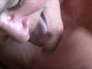 Granny Swallows Hot Cum - Closeup