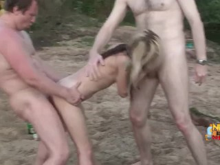 amateur russian swingers' rough sex fuck party on the beach