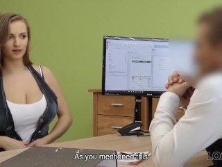 LOAN4K. Bad red-haired girl sucks and gets nailed in the loan office