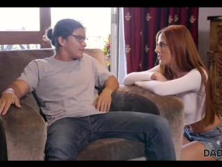DADDY4K. Red-haired babe doesnt mind having an affair with BFs father