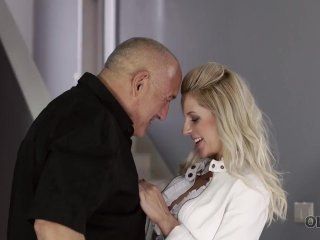OLD4K. Old guy impales his sweet mistress when they return