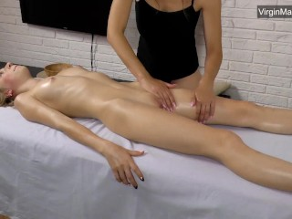 Girl making girl Gerenda virgin pussy and body massage