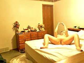 Chubby housewife Sally masturbates in her bedroom