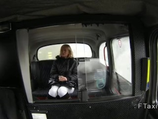 Hungarian blonde anal fucked in fake cab