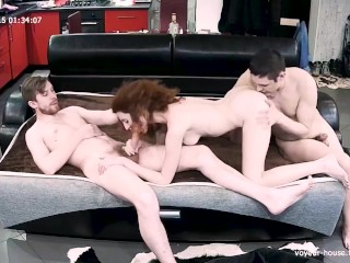 Skinny Redhair Teen Beast In Hot Threesome Real Homemade Action