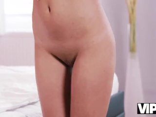 VIP4K. Slender brunette and her old lover spend free time in bedroom