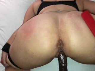 Thick ass pawg MILF bouncing on BBC tied up