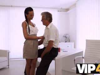 Vip4k. Babe Has A Crush On Her Hairy Mature Boss And Wants Hot Sex With Him
