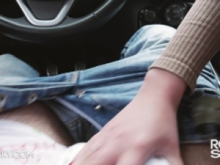 Quickie Blowjob in a Car She Swallow Until Last Drop - Rosie Skye