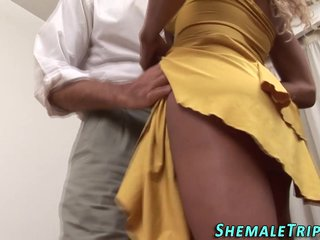 Ebony ladyboy facialized