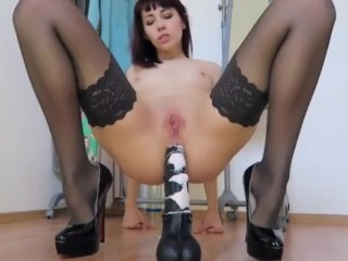 Deep anal with my huge horse dildo