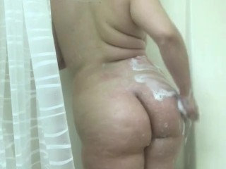 BBW Teen Fucks Her Soapy Body in the Steamy Shower