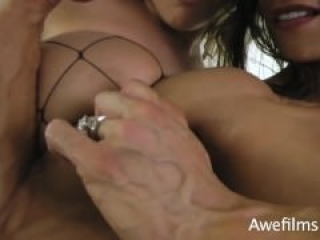 FBB Marina Lopez squeezes her friend's tits with her biceps.