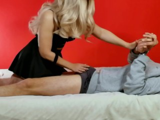 Step sister tied up brother, sucked and fucked his dick