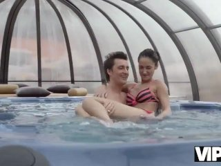 VIP4K. Older lover invites gentle girl to his house with jacuzzi