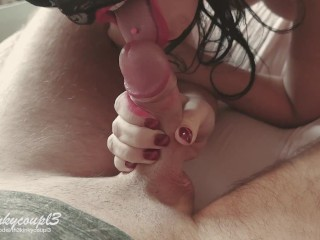 Housewife Impressive Close Up HandJob and BlowJob With Final Cumshot. POV