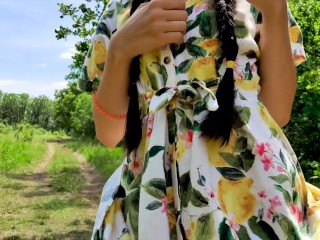 Young shameless girl walks without panties and masturbates outside - Sexy Yum Yums