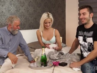 DADDY4K. Birthday girl receives gifts and portion of cum from old guy
