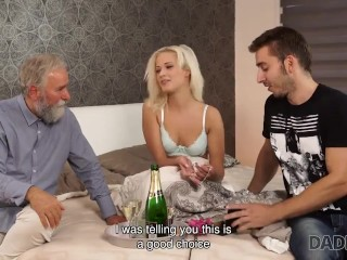 DADDY4K. Sweet blonde rides fuckstick of BFs old daddy in the bedroom