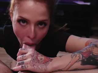 Redhead Girlfriend orgasm and suck at the same time!