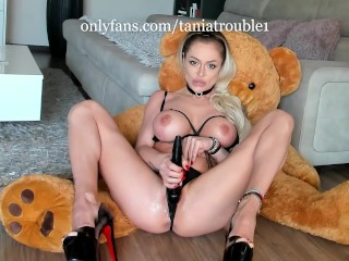 Hot Housewife fucking her pussy on the floor and used her wet panties like a real slut