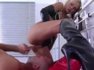 Domina blows and face sits her slave during his session