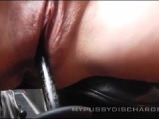 Creamy masturbation with gear stick