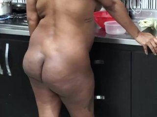 Ebony latina pregnant cooking while watching porn and masterbating