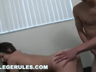 COLLEGE RULES - Beautiful Teen Rides Dick In The Dorm Room