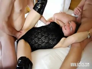 Double fist and cock fuck for her huge pussy