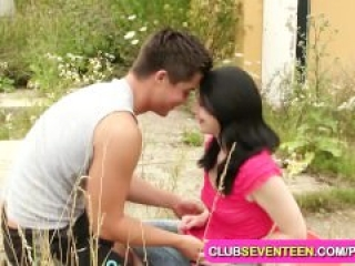Dark haired cutie enjoys outdoor sex