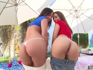 TRUE ANAL Amara and Holly bubble butt anal fun and cum swap