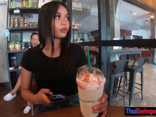 Pretty Thai teen on a date gets fucked doggystyle back in the hotel