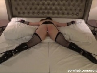 Tied up sex slave in ballet boots punished with hard spanking and anal