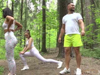 Jogging turns into some adventurous sex with a horny couple