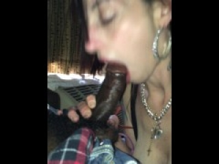 Cute white girl worships and dp black cock