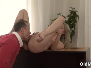 Teen red head riding creampie first time