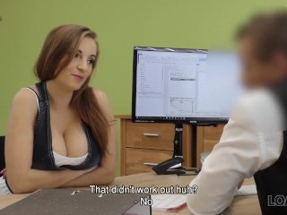 LOAN4K. Lassie licks ass of loan agent to make him signs her papers