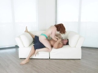 horny redhead fucks her stepbro while dad is away