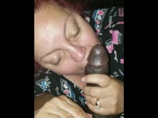 She almost swallowed all my cum but she missed some