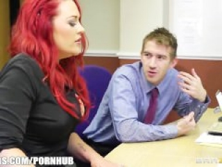 Danny D slams busty redhead secretary with the biggest dick she's had